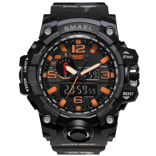 1545B Black orange - SMAEL Brand Men Sports Watches Dual Display Analog Digital LED Electronic Quartz Wristwatches Waterproof Swimming Military Watch