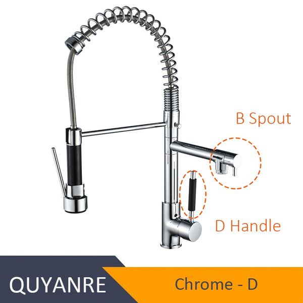 CHROME HEIBAZI - Blackend Spring Kitchen Faucet Pull out Side Sprayer Dual Spout Single Handle Mixer Tap Sink Faucet 360 Rotation Kitchen Faucets