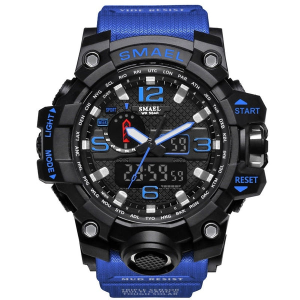 1545 Blue - SMAEL Brand Men Sports Watches Dual Display Analog Digital LED Electronic Quartz Wristwatches Waterproof Swimming Military Watch