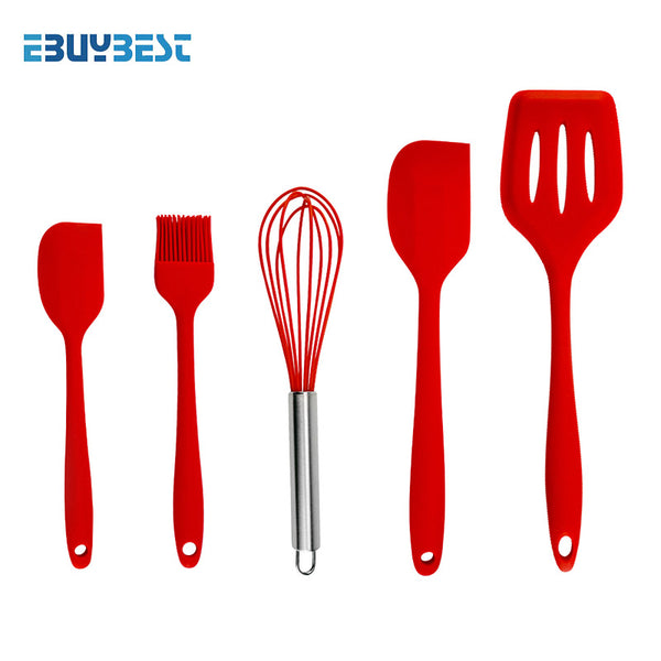 5pcs Red - 5pcs  10pcs Cooking Tools Silicone Kitchen Utensils Spatula Spoon Tongs Ladle Spaghetti Server Slotted Turner Kitchen Tools Set