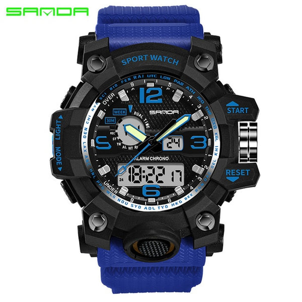 blue - SANDA top luxury brand G style men's military sports watch LED digital watch waterproof men's watch Relogio Masculino