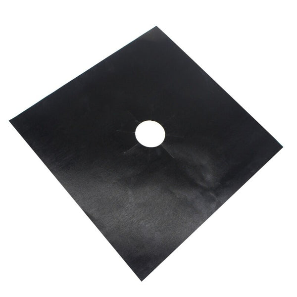 Black - 4Pcs Reusable Foil Gas Hob Range Stovetop Burner Protector Liner Cover For Cleaning Kitchen Tools