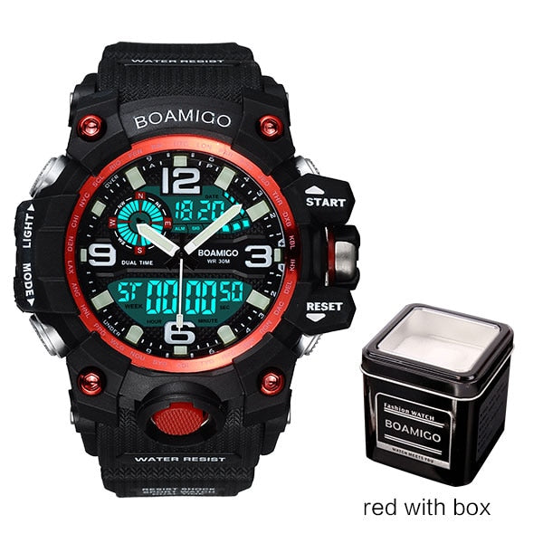 red with box - Men Sports Watches BOAMIGO Brand Digital LED Orange Shock Swim Quartz Rubber Wristwatches Waterproof Clock Relogio Masculino