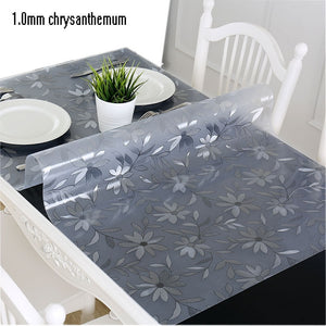 chrysanthemum / 50x100cm - PVC tablecloth tablecloth transparent D' waterproof tablecloth with kitchen pattern oil tablecloth glass soft cloth 1.0mm