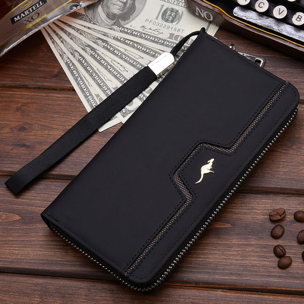 [variant_title] - New Men Leather Wallet High Quality Zipper Wallets Men Long Purse Male Clutch Phone Bag Wristlet Coin Purse Card Holder MWS184