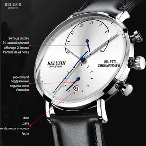 [variant_title] - BELUSHI Fashion Quartz Watches Men Top Brand Ultra-thin Leather Men Watch Waterproof Male Auto Date Clock Relogio Masculino