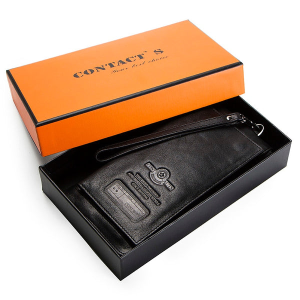 Black Box - 2019 Men Wallet Clutch Genuine Leather Brand Rfid  Wallet Male Organizer Cell Phone Clutch Bag Long Coin Purse Free Engrave