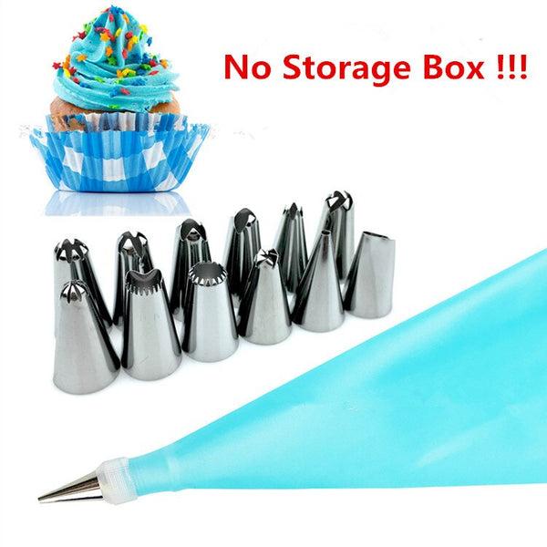 Sky Blue - 14pc/set Dessert Decorators Silicone Icing Piping Cream Pastry Bag Stainless Steel Piping Icing Nozzle for Cream Pastry Tool