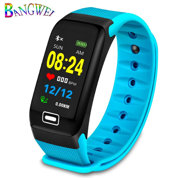 Blue - BANGWEI Fitness smart watch men Women Pedometer Heart Rate Monitor Waterproof IP67 Swimming Running Sports Watch For Android IOS