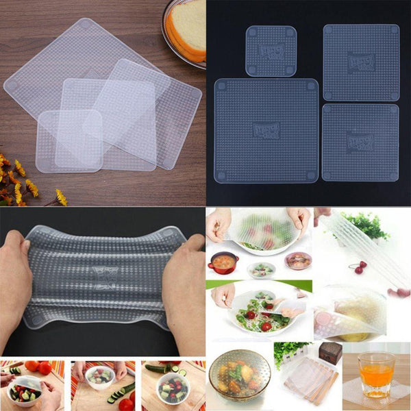 [variant_title] - 4pcs Multifunctional Food Grade Silicone Food Wrap Reusable Fresh Keeping Saran Wrap Kitchen Cooking Tools Wraps Seal Cover Set