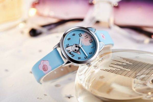 sky blue - NEW arrive Cute Cheese Cat Pattern Kids Watch Quartz Analog Child Watches For Boys Girls Student Clock Gift Relogio Feminino