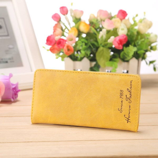 YELLOW - Minimalist Designer Slim Long Bifold Women Wallet Female Clutch Leather Brand Coin Purse Ladies Card Holder Money Dollar Cuzdan