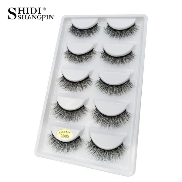 G805 - 5 pairs false eyelashes natural 3D mink lashes makeup eyelash extension long mink eyelashes volume fake eye lashes cilio russian