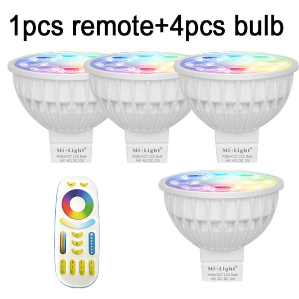 1remote 4bulbs / GU10 / Yes - HOTOOK Mi Light WIFI LED Bulb RGB CCT(2700-6500K)LED Lamp Smart Light Dimmable MR16 GU10 4WSpotlight 2.4G Remote and APP Control