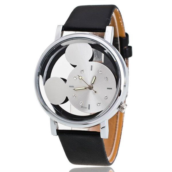 Black White - Brand Leather Quartz Watch Women Children Girl Boy Kids Fashion Bracelet Wrist Watch Wristwatches Clock Relogio Feminino Cartoon