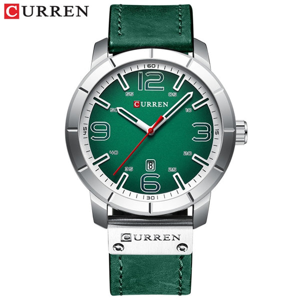 silver green watch - Men Watch 2019 CURREN Men's Quartz Wristwatches Male Clock Top Brand Luxury Reloj Hombres Leather Wrist Watches with Calendar