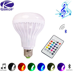 [variant_title] - RGB Bluetooth Speaker Smart led Bulb E27 Light 12W Music led display Dimmable Wireless lampada led Lamp with sound sensor+ctrl