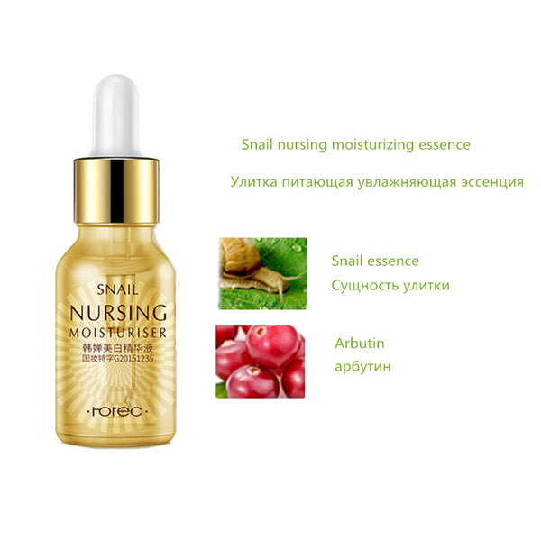 Snail - Face Essence Snail Hyaluronic Acid Green Tea Skin Care Moisturizing Whitening Anti-Aging Advanced Face Serum Cosmetic 15ml
