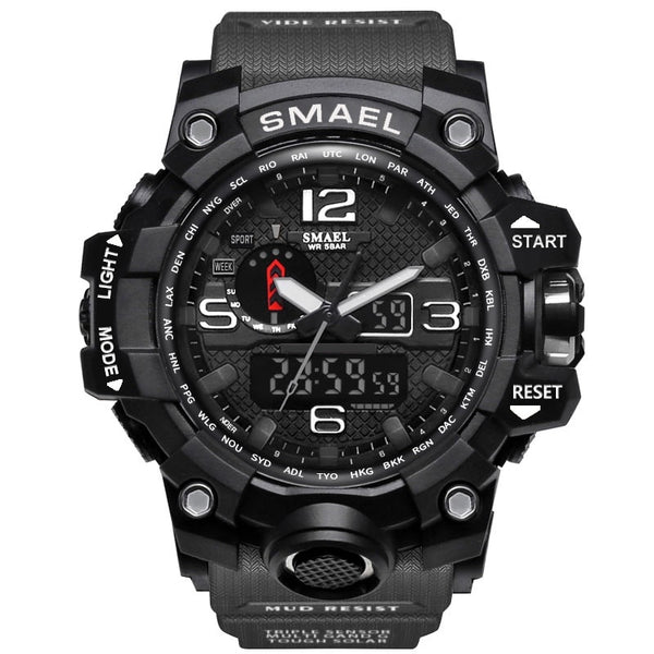 1545 Gray Black - SMAEL Brand Men Sports Watches Dual Display Analog Digital LED Electronic Quartz Wristwatches Waterproof Swimming Military Watch