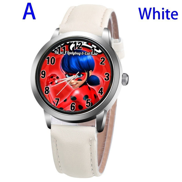A-WHITE - New arrive Miraculous Ladybug Watches Children Kids gift Watch Casual Quartz Wristwatch fashion leather watch Relogio Relojes
