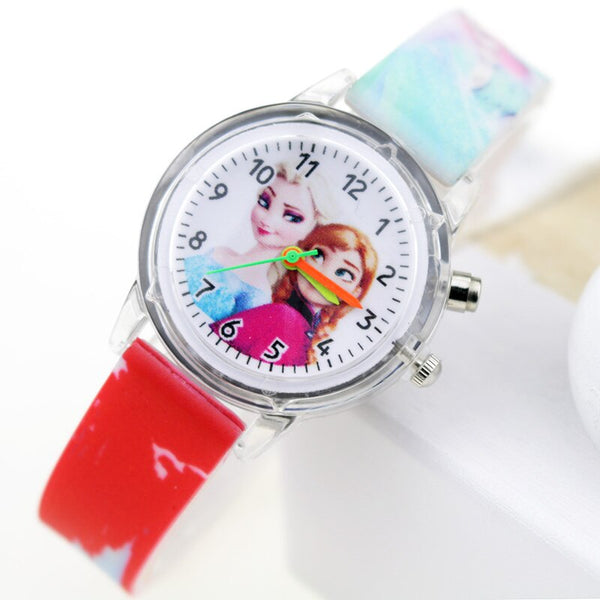 Girl Red Flash - Princess Elsa Children Watches Spiderman Colorful Light Source Boys Watch Girls Kids Party Gift Clock Wrist Relogio Feminino