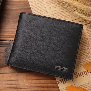 black - Luxury 100% Genuine Leather Wallet Fashion Short Bifold Men Wallet Casual Soild Men Wallets With Coin Pocket Purses Male Wallets