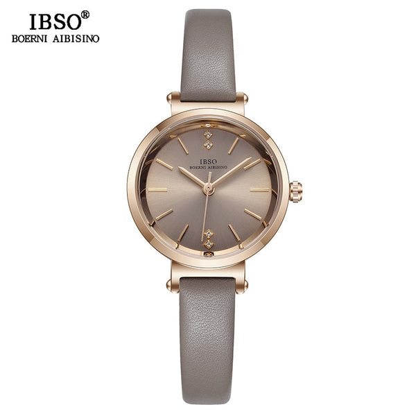 Grey - IBSO 8 MM Ultra-Thin Wrist Women Watches Luxury Female Clock Fashion Montre Femme 2019 Quartz Ladies Watch Relogio Feminino