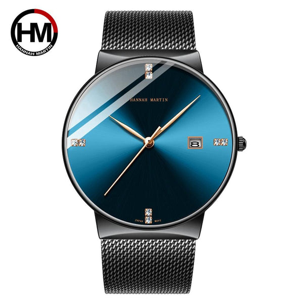 HM-901-L-WFH - Men Watch Stainless Steel Classical Business Waterproof Top Brand luxury Quartz Movement Wristwatches Calendar relogio masculino