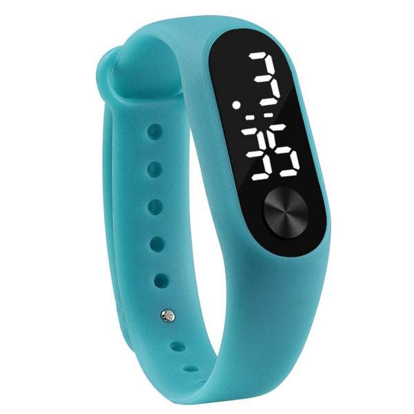sky blue - Fashion Men Women Casual Sports Bracelet Watches White LED Electronic Digital Candy Color Silicone Wrist Watch for Children Kids