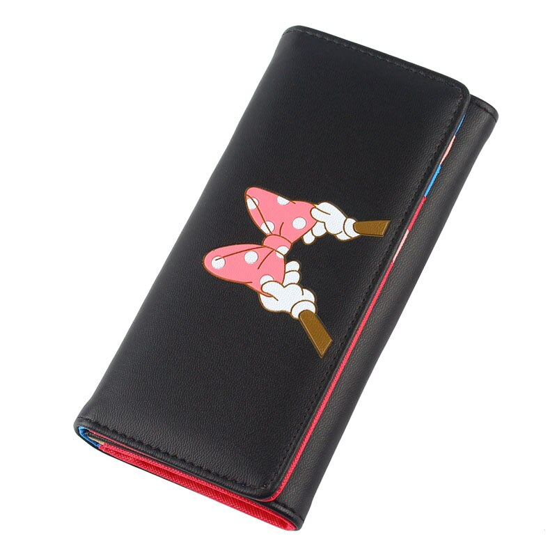 black - BOTUSI Mickey Bow Lady Purses Handbags Brand Design Women Wallets PU Leather Money Coin Purse Cards ID Holder Cartoon Printing