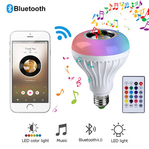 Default Title - Smart E27 RGB Bluetooth Speaker LED Bulb Light 12W Music Playing Dimmable Wireless Led Lamp with 24 Keys Remote Control #35