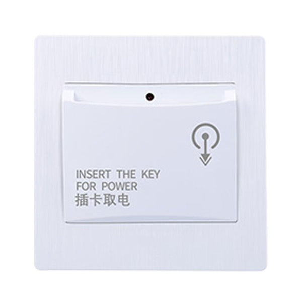 white - 86X86mm high-end hotel smart card power switch 220V / 40A insert key for power supply