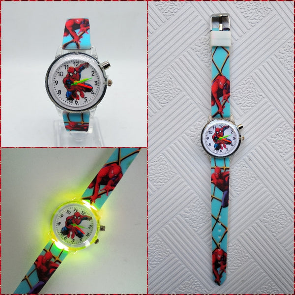 Sky Blue - Flashing light Spiderman children watch high quality kids watches child luminous boys girls clock printing silicone belt table