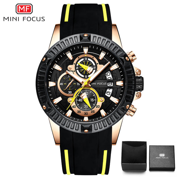 black yellow - MINIFOCUS Fashion Men's Wristwatch Quartz Watch Men Waterproof Silicone Sport Wrist Watches Men Luxury Brand Relogio Masculino