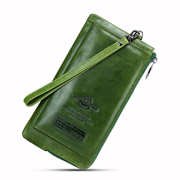 Green - 2019 Men Wallet Clutch Genuine Leather Brand Rfid  Wallet Male Organizer Cell Phone Clutch Bag Long Coin Purse Free Engrave