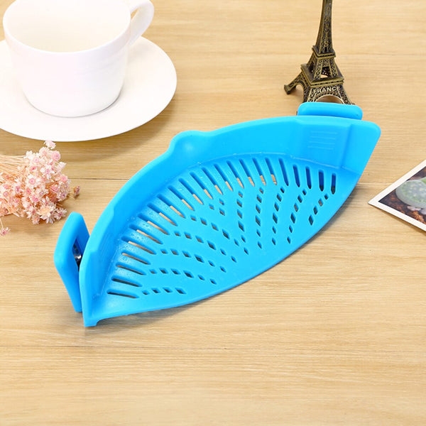 Blue / 1-tier - Silicone Colanders Kitchen Clip On Pot Strainer Drainer For Draining Liquid Univers Draining Pasta Vegetable Tool DropShipping