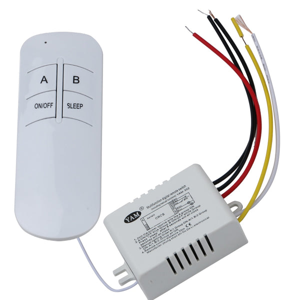 Two Way - 3 Port ON/OFF 220V Lamp Light Digital Wireless Wall Remote Control Switch Receiver Transmitter