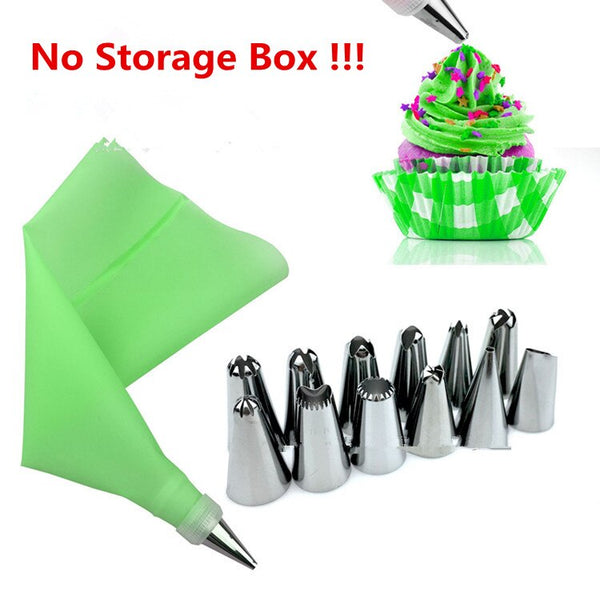 Green - 14pc/set Dessert Decorators Silicone Icing Piping Cream Pastry Bag Stainless Steel Piping Icing Nozzle for Cream Pastry Tool