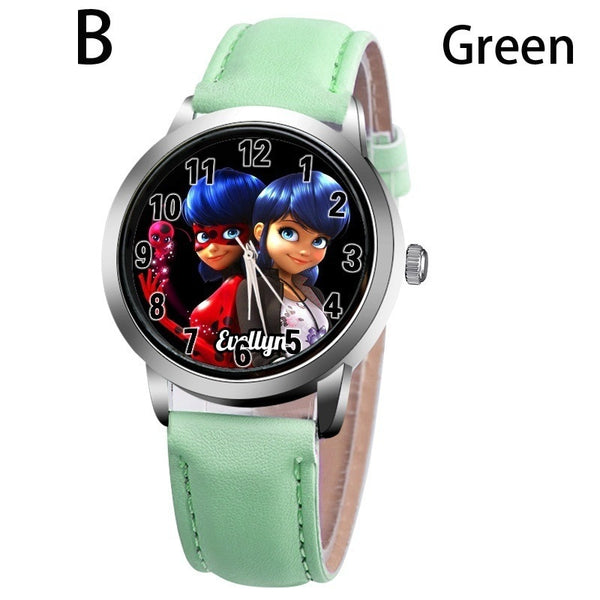 B-GREEN - New arrive Miraculous Ladybug Watches Children Kids gift Watch Casual Quartz Wristwatch fashion leather watch Relogio Relojes