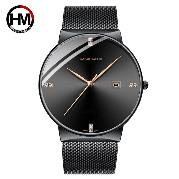HM-901-H-WFH - Men Watch Stainless Steel Classical Business Waterproof Top Brand luxury Quartz Movement Wristwatches Calendar relogio masculino