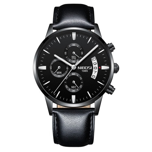 Whole Black Leather - NIBOSI Relogio Masculino Men Watches Luxury Famous Top Brand Men's Fashion Casual Dress Watch Military Quartz Wristwatches Saat
