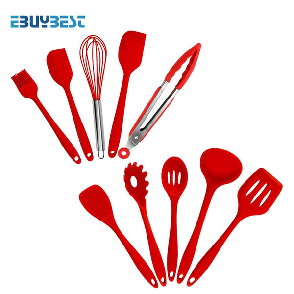 10pcs Red color - 5pcs  10pcs Cooking Tools Silicone Kitchen Utensils Spatula Spoon Tongs Ladle Spaghetti Server Slotted Turner Kitchen Tools Set
