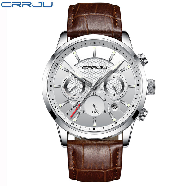 [variant_title] - CRRJU New Fashion Men Watches Analog Quartz Wristwatches 30M Waterproof Chronograph Sport Date Leather Band Watches montre homme