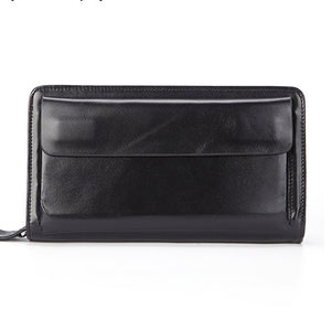 Black - Business Genuine Leather Clutch Wallet Men Long Leather Phone Bag Purse Male  Large Size Handy Coin Wallet Card Holder Money Bag