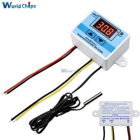Default Title - 220VAC 10A Digital LED Temperature Controller XH-W3001 For Arduino Cooling Heating Switch Thermostat + NTC Sensor