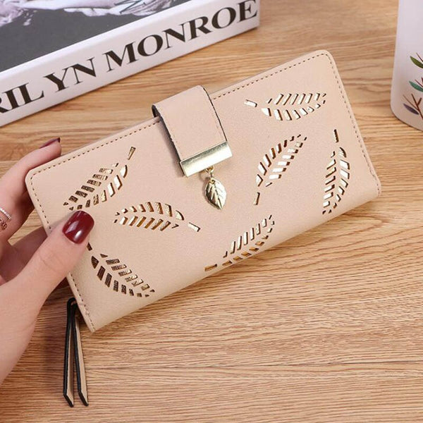 Brown - Women Wallet PU Leather Purse Female Long Wallet Gold Hollow Leaves Pouch Handbag For Women Coin Purse Card Holders Clutch