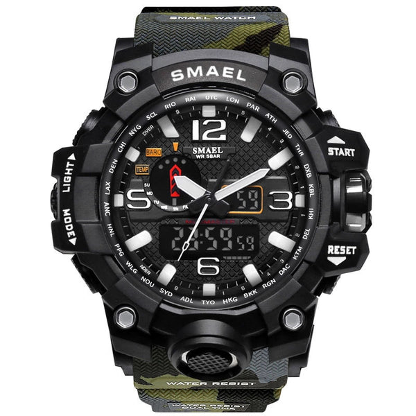 1545B ArmyGreen - SMAEL Brand Men Sports Watches Dual Display Analog Digital LED Electronic Quartz Wristwatches Waterproof Swimming Military Watch