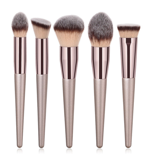 5pcs XB powder brush - 10pcs/set Champagne makeup brushes set for cosmetic foundation powder blush eyeshadow kabuki blending make up brush beauty tool