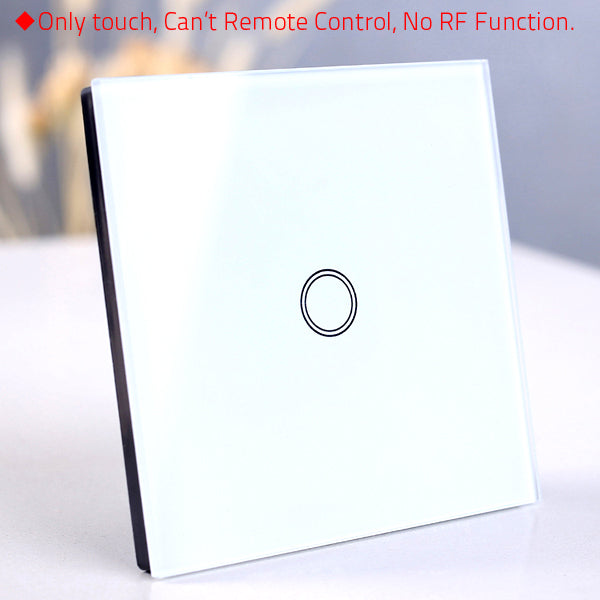 1 White only touch - EU/UK Standard Touch Switch, Wall Light Touch Screen Switch, wireless Remote control Wall touch switch , 2 gang gray AC130~250V