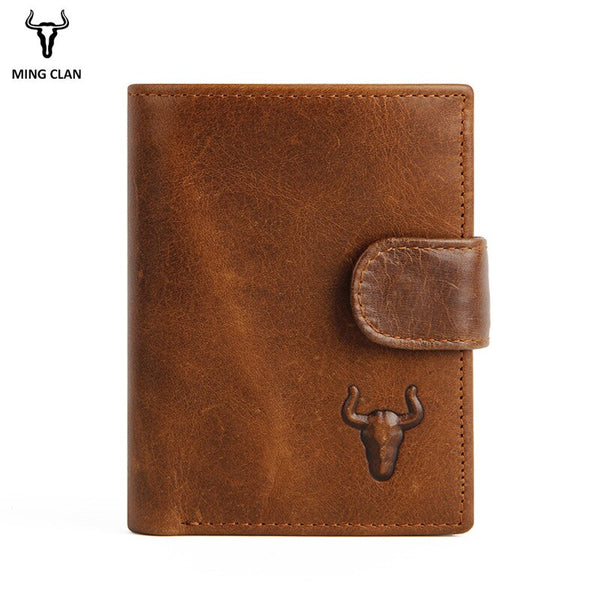 Tabacco - Mingclan Men Wallet Crazy Horse Original Leather Male Wallets Rfid Blocking Coin Purse Flip ID Credit Card Holder Hidden Pocket
